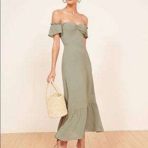 Reformation Sage Green Butterfly Dress- Worn Once